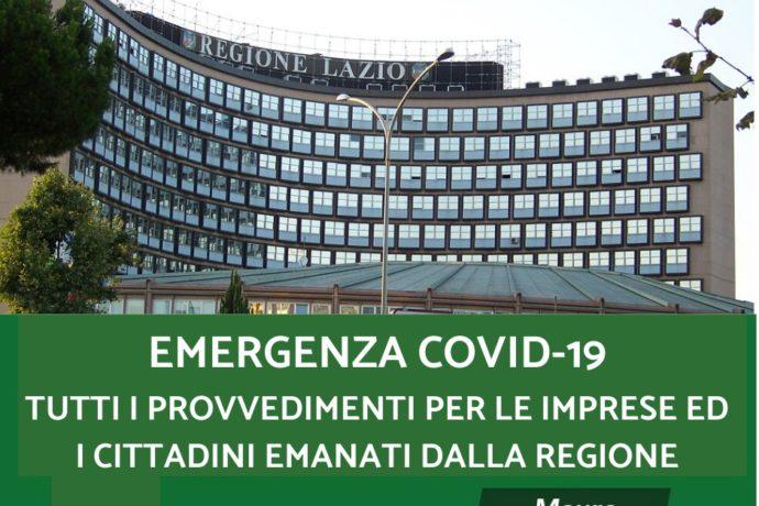 COVID-19, TUTTI I PROVVEDIMENTI DELLA REGIONE PER CITTADINI, FAMIGLIE, IMPRESE